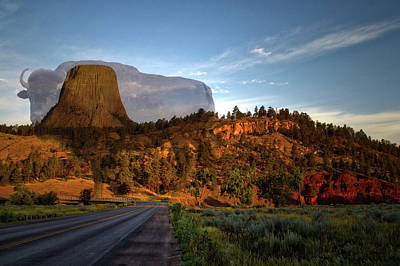 Legend Of The Buffalo Devils Tower National Monument Wyoming Poster