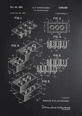 Lego Block Patent Chalkboard Poster by Brooke Roby