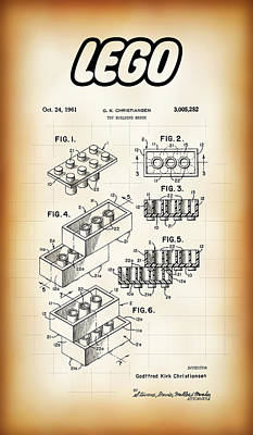 Lego Building Brick Patent 1961 Poster by Daniel Hagerman