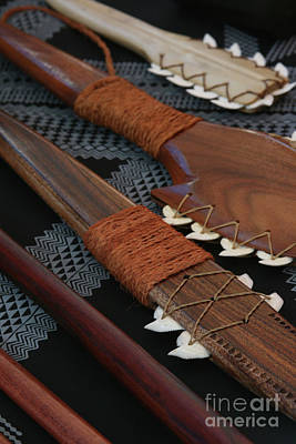 Lei O Mano Hawaiian Koa Shark Teeth Dagger And War Clubs Poster by Sharon Mau