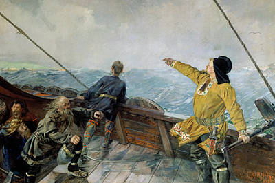 Leiv Eirikson Discovering America Poster by Christian Krohg