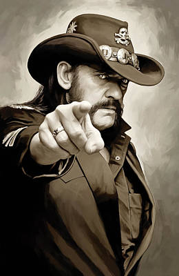 Poster featuring the painting Lemmy Kilmister Motorhead Artwork 1 by Sheraz A