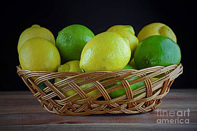 Lemon And Lime Basket Poster by Ray Shrewsberry