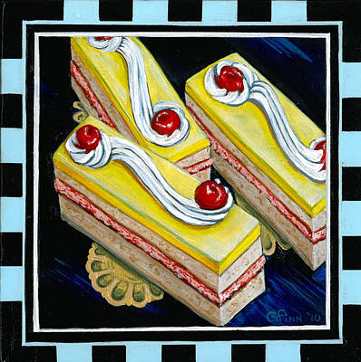 Poster featuring the painting Lemon Bars With A Cherry On Top by Gail Finn