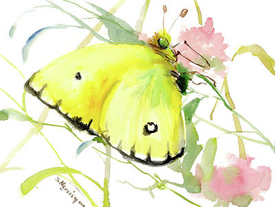 Lemon Yellow Butterfly Poster by Suren Nersisyan
