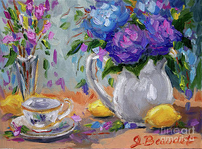 Poster featuring the painting Lemons And Purple  by Jennifer Beaudet