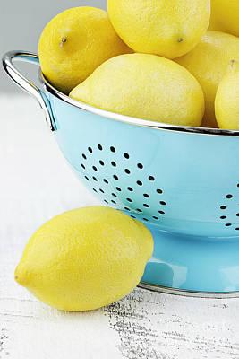 Lemons In Blue Poster by Stephanie Frey