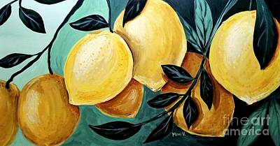 Poster featuring the painting Lemons by Maria Langgle