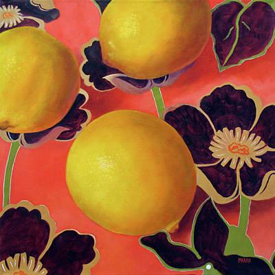 Lemons On Persimmon Poster