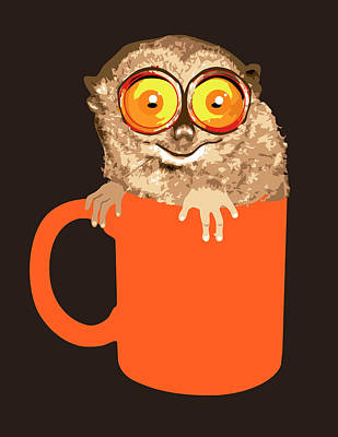 Lemur In Coffee Mug Poster by New Vision Technologies Inc