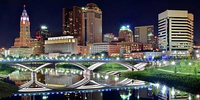 Lengthy Columbus Nightscape Poster by Frozen in Time Fine Art Photography