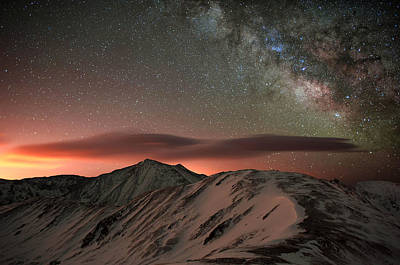 Lenticular Mountain Milky Way Poster by Mike Berenson