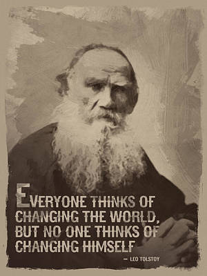Leo Tolstoy Quote Poster by Afterdarkness