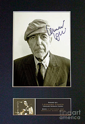 Leonard Cohen Signed Memorabilia Poster by Pd