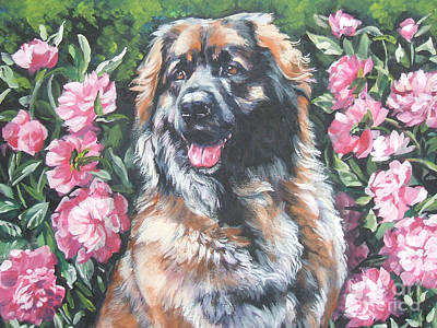 Leonberger In The Peonies Poster by Lee Ann Shepard