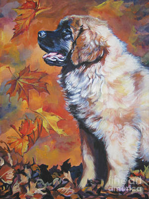 Leonberger Puppy In Autumn Poster by Lee Ann Shepard