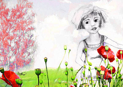 Poster featuring the drawing Leora In Her Garden by Ginette Callaway