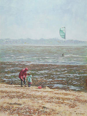 Poster featuring the painting Lepe Beach Windy Winter Day by Martin Davey