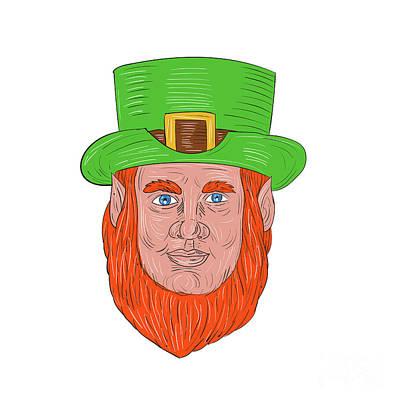 Leprechaun Head Front Drawing Poster
