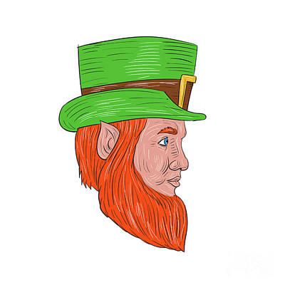 Leprechaun Head Side Drawing Poster