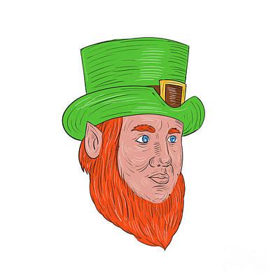 Leprechaun Head Three Quarter View Drawing Poster