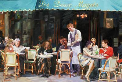 Les Deux Magots - Cafe Scene In Paris Poster by Dominique Amendola