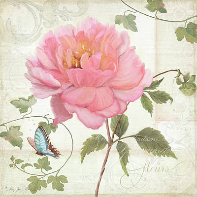 Les Magnifiques Fleurs Iv - Magnificent Garden Flowers Pink Peony N Blue Butterfly Poster by Audrey Jeanne Roberts