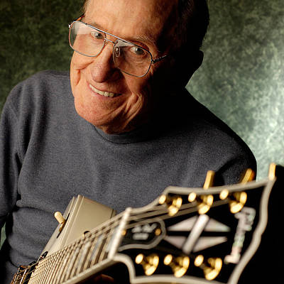 Les Paul With His White Gibson Les Paul Custom Guitar By Gene Martin Poster
