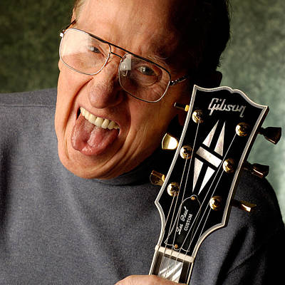 Les Paul With Tongue Out By Gene Martin Poster