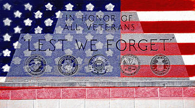 Lest We Forget With Flag Graphic Poster