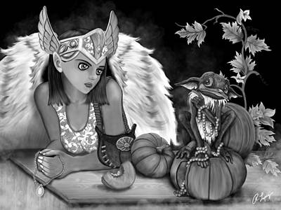 Let Me Explain - Black And White Fantasy Art Poster