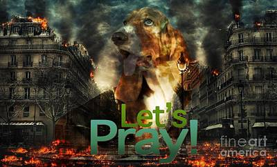 Poster featuring the digital art Let Us Pray by Kathy Tarochione