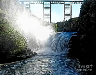 Poster featuring the photograph Letchworth State Park Upper Falls And Railroad Trestle Abstract by Rose Santuci-Sofranko