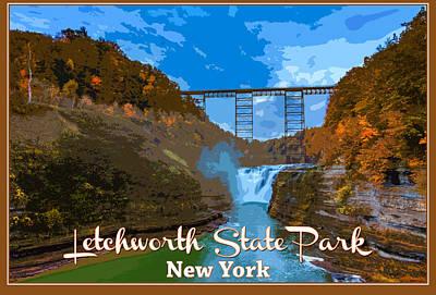 Letchworth State Park Vintage Travel Poster Poster by Rick Berk