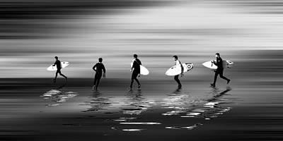 Lets Go Surf Mono Poster