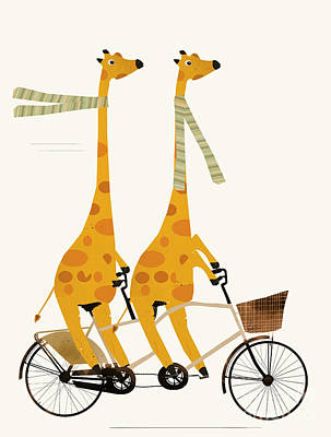 Poster featuring the painting Lets Tandem Giraffes by Bri B