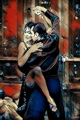 Poster featuring the digital art Let's Tango by Pennie McCracken