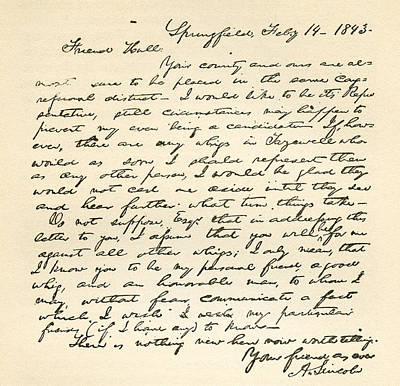Letter From Abraham Lincoln To Alden Poster