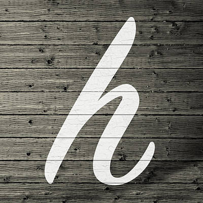 Letter H White Paint Peeling From Wood Planks Poster