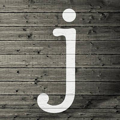 Letter J White Paint Peeling From Wood Planks Poster
