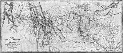 Lewis And Clark Hand-drawn Map Of The Unknown 1804 Poster by Lewis And Clark