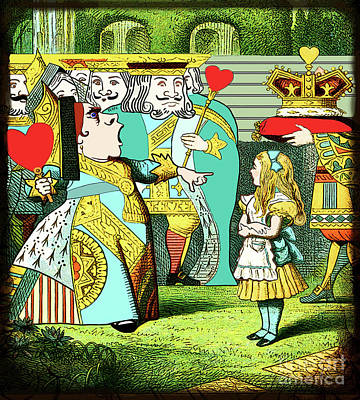 Lewis Carrolls Alice, Red Queen And Cards Poster by Marian Cates
