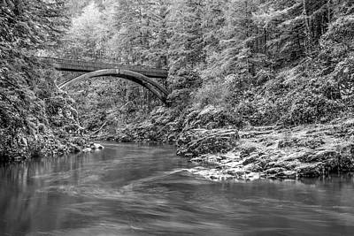 Lewis River Black And White Poster by Jean Noren