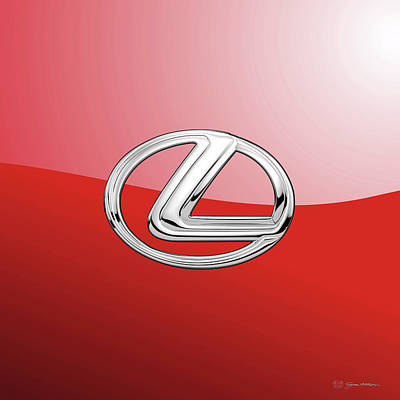 Lexus - 3d Badge On Red Poster by Serge Averbukh