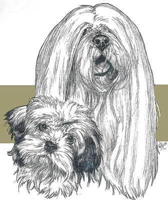 Lhasa Apso And Pup Poster