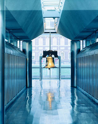 Liberty Bell Hanging In A Corridor Poster