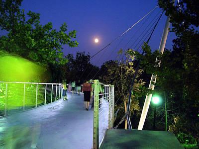 Liberty Bridge At Night Greenville South Carolina Poster by Flavia Westerwelle