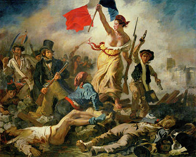 Poster featuring the painting Liberty Leading The People By Eugene Delacroix 1830 by Movie Poster Prints