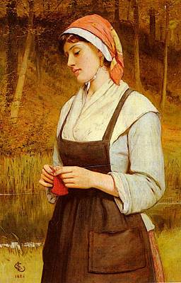 Lidderdale Charles Sillem Knitting Poster by Charles Sillem Lidderdale