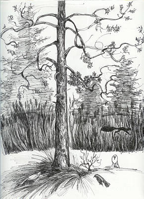 Poster featuring the drawing Life In The Forest by Anna  Duyunova